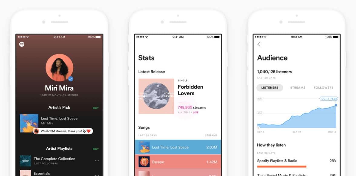 Spotify para Artistas en iOS.