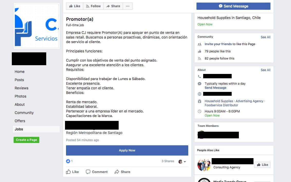Ahora el Marketplace de Facebook podrá ofrecer empleos en Chile