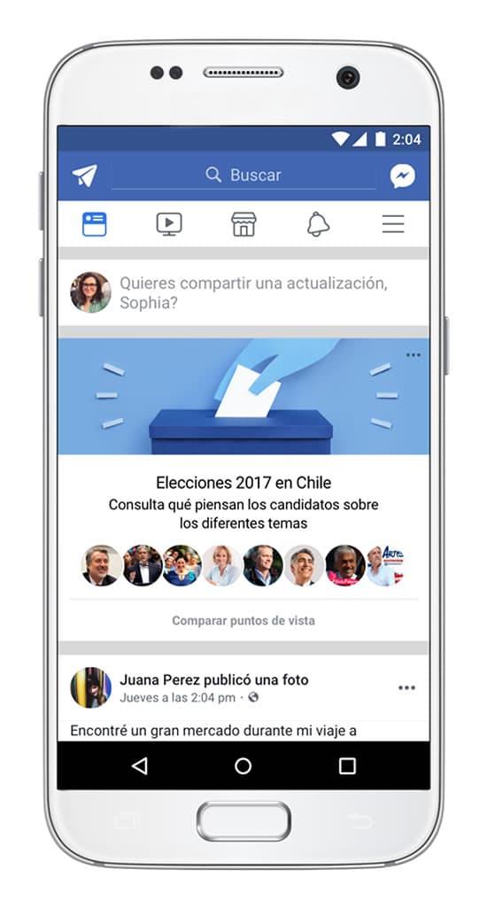 Facebook te informa sobre las posiciones de los candidatos chilenos a la presidencia