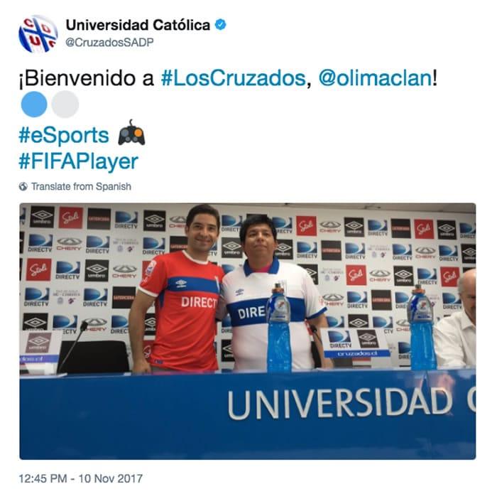 Universidad Católica es el primer club deportivo de Chile en contratar un jugador de eSports