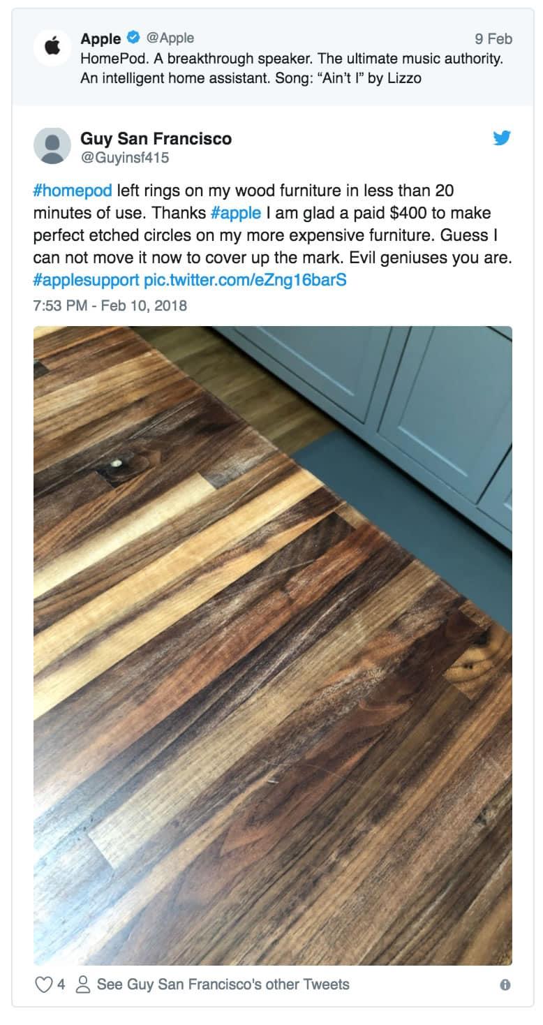 Falla tonta de Apple: el HomePod deja manchas blancas en muebles de madera