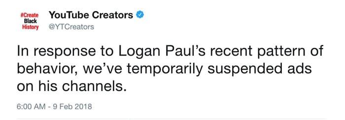 Logan Paul no entendió y YouTube le cortó toda la monetización de su canal