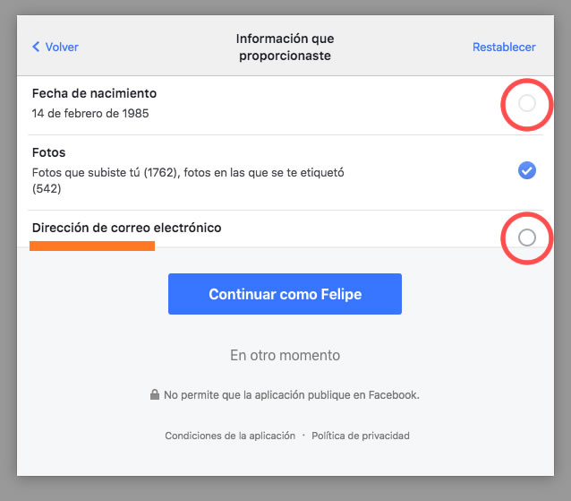 Permisos App Facebook