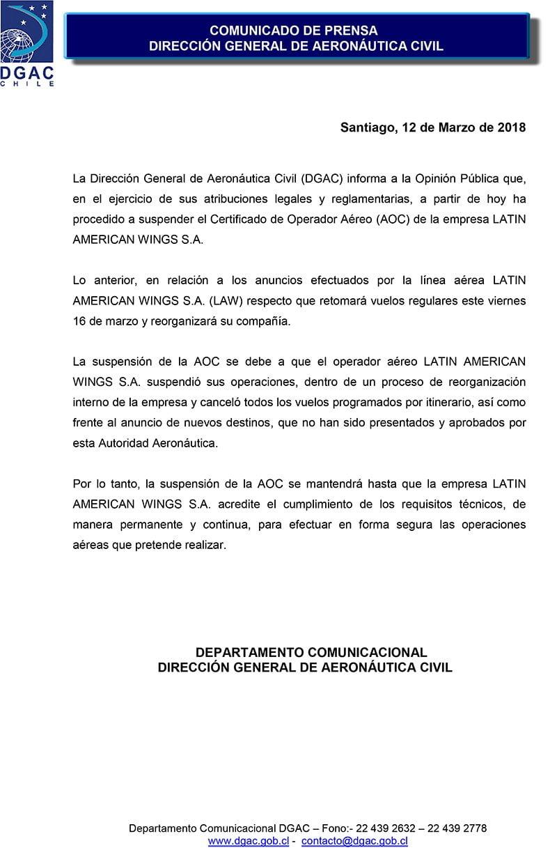 Aerolínea LAW pierde temporalmente su licencia para operar en Chile