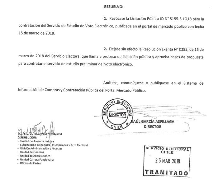 Servel revoca licitación para estudiar el voto electrónico en Chile