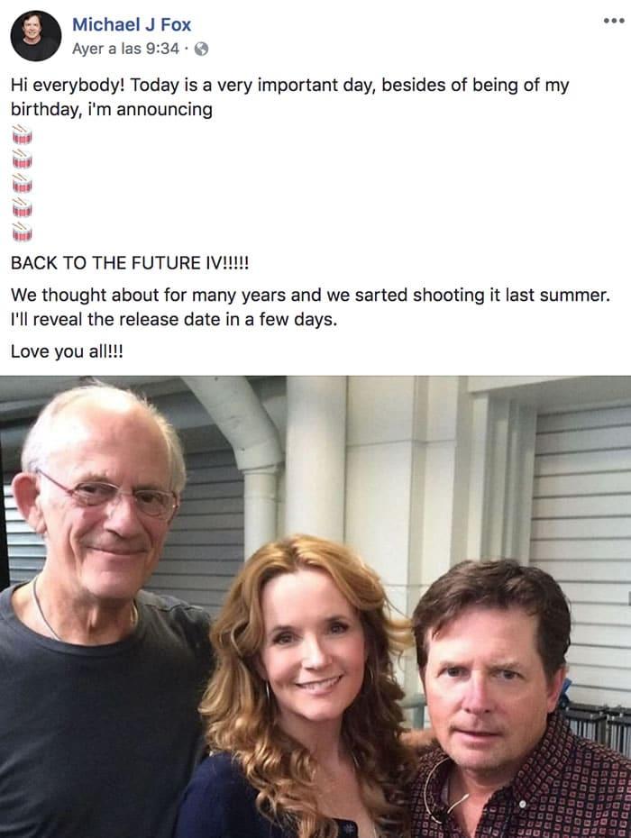 """No, no habrá una """"Volver al Futuro IV"""" porque una cuenta falsa de Facebook lo dijo"""