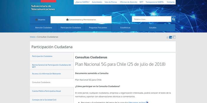 Abren consulta pública por implementación del 5G en Chile