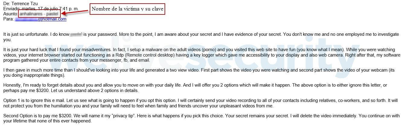 Extorsión por mail publica una contraseña tuya en el asunto y te pide dinero