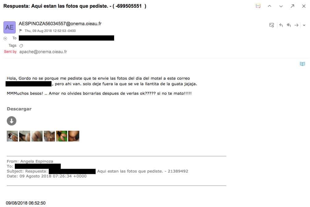Virus que llega por correo te envía falsas fotos en un motel con supuesta amante