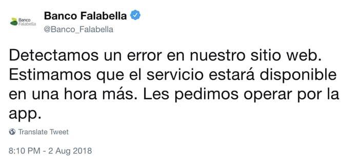 Banco Falabella permitió acceder a las cuentas bancarias sin contraseña