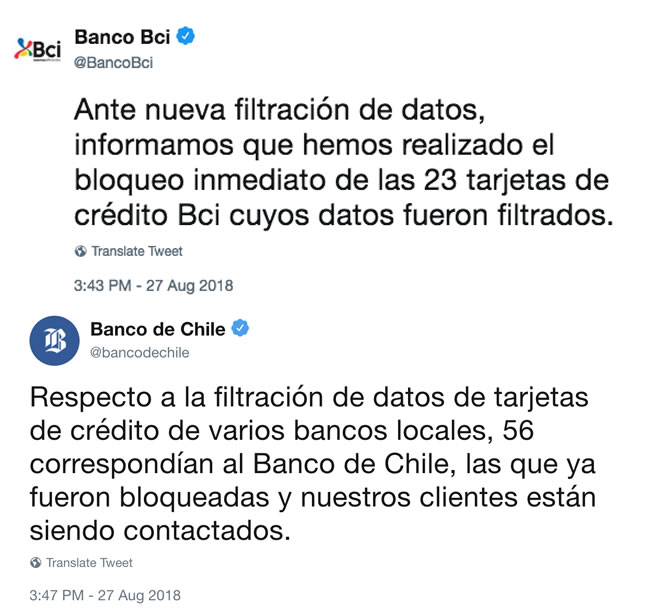 Se filtran nuevamente tarjetas de crédito chilenas