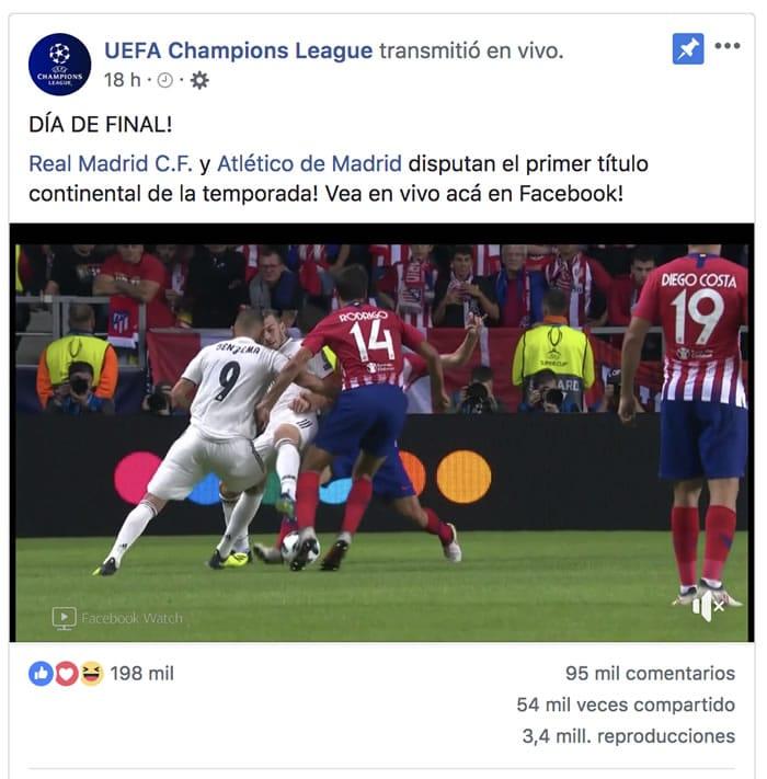 Facebook transmitirá la UEFA Champions League en Latinoamérica por 3 años