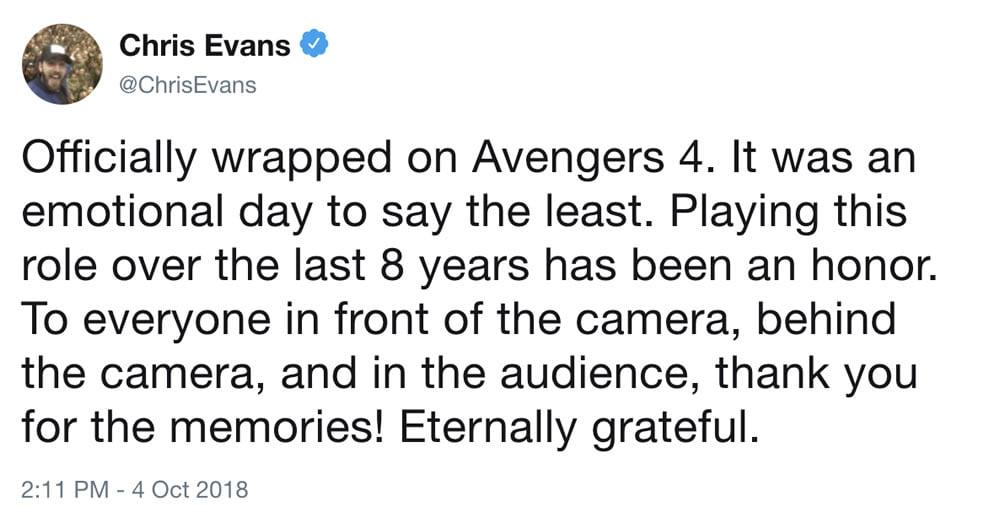 Codirector de Avengers dice que Chris Evans aún no se despide de Capitán América