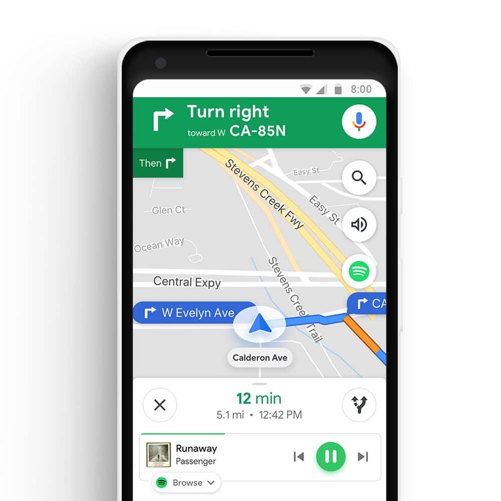 Google Maps ahora controla la música de Spotify y Apple Music