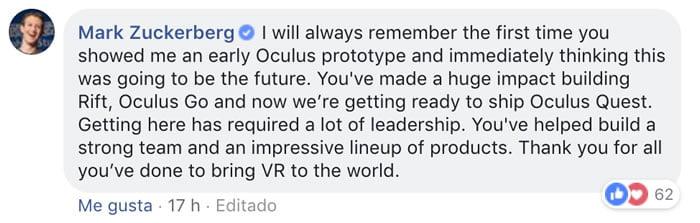 Mark Zuckerberg despidiendo al cofundador de Oculus.