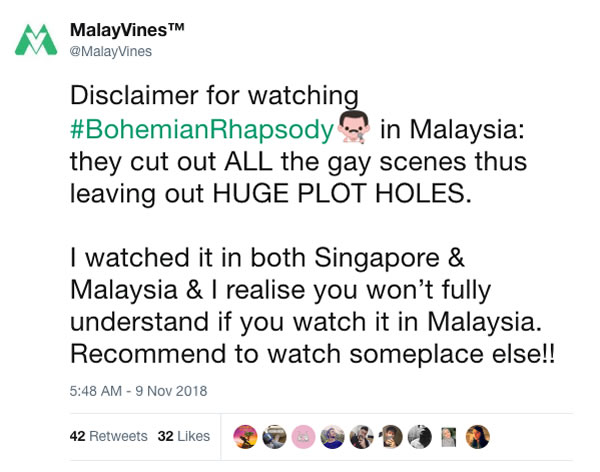 Este país con leyes anti-homosexuales le quitó 24 minutos a Bohemian Rhapsody