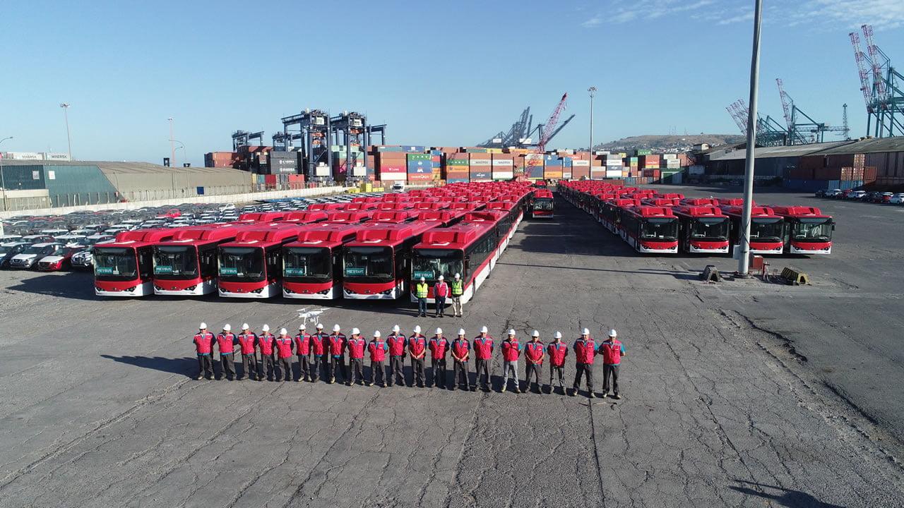 Llegan a Chile los primeros buses eléctricos para el Transantiago