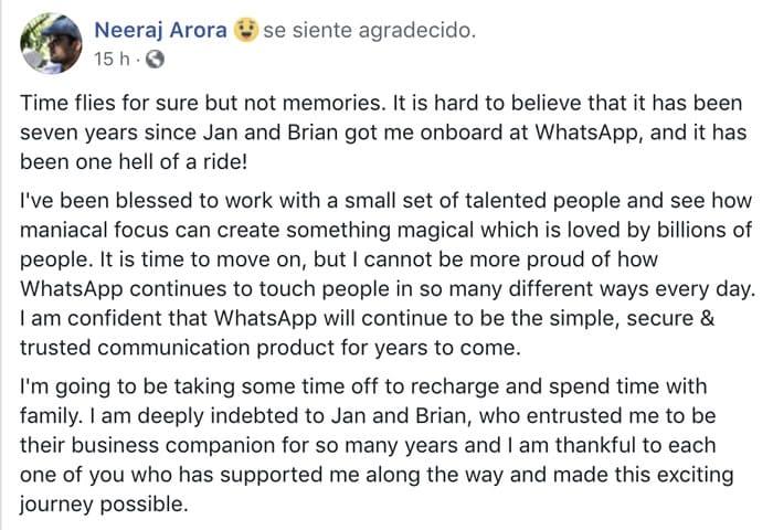 ¡Temblor en WhatsApp! Director de negocio renunció a su cargo