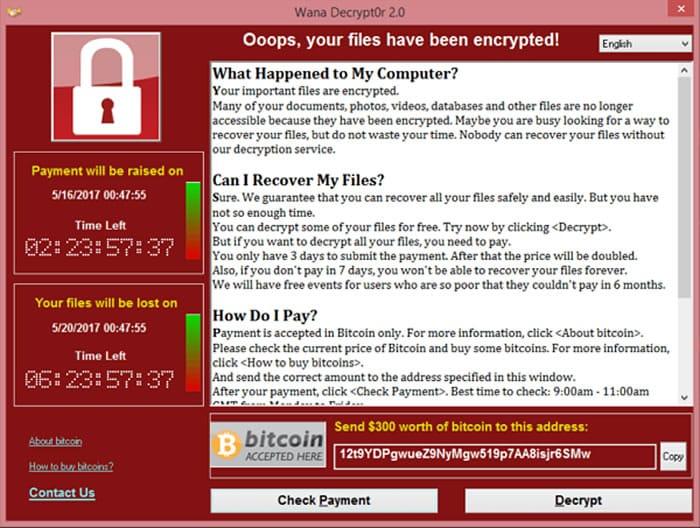 Ventana de un computador infectado con WannaCry.