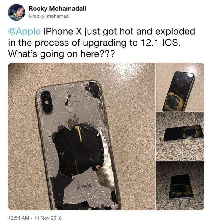 ¿Qué? iPhone X explotó mientras se actualizaba a iOS 12.1