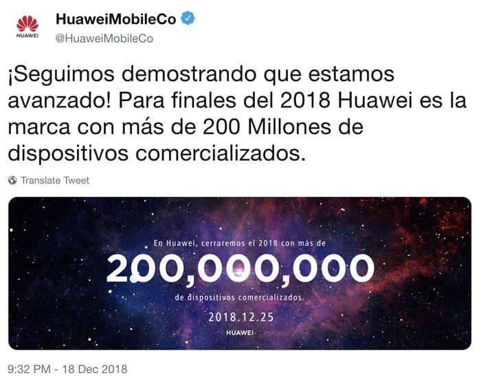 Huawei finaliza el año vendiendo más de 200 millones de celulares.