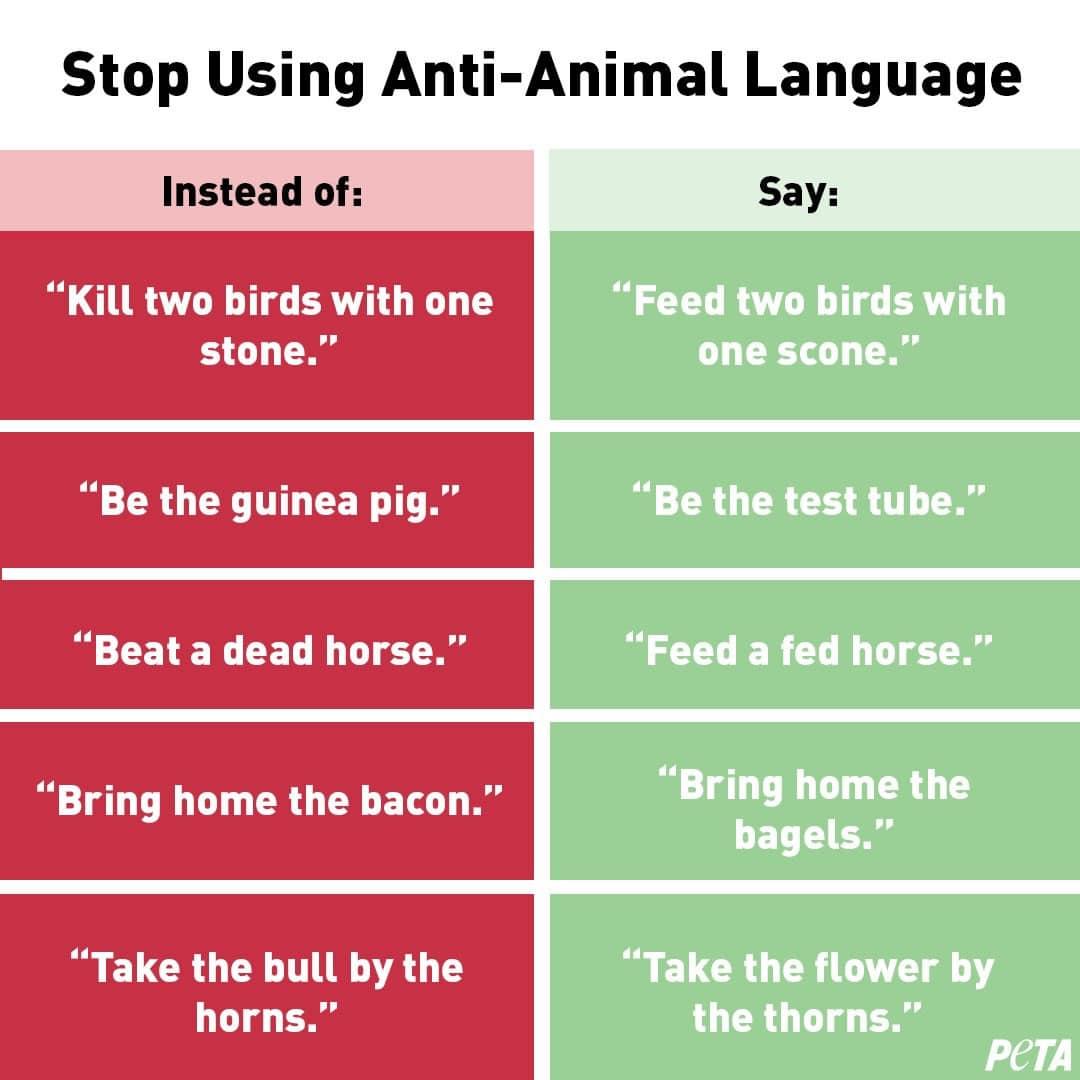 PETA quiere que no uses frases anti-animales cuando te expreses