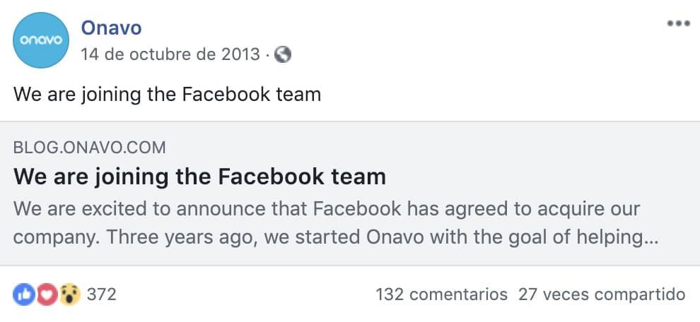 Facebook compra Onavo en 2013.