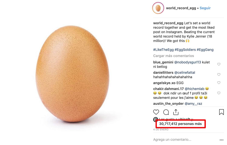 """Un simple huevo es la foto con más """"me gusta"""" en Instagram."""