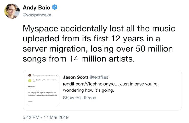 """¿Se acuerdan de MySpace? Borraron 50 millones de canciones """"por error""""."""