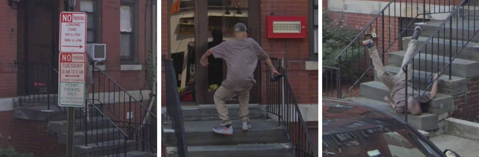 Google Street View captura el momento exacto de un hombre cayendo por las escaleras.