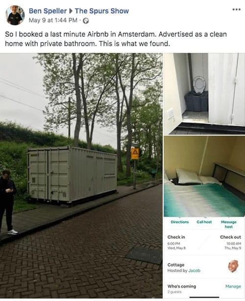 Arrendó una casa por Airbnb y le quisieron dar un contenedor de barco en plena calle.