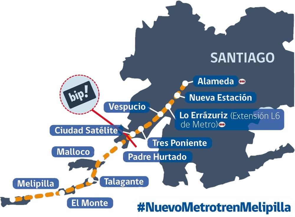 A partir del 2020 se construirá tren que une Santiago con Melipilla en 46 minutos.