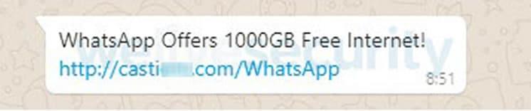 Nueva estafa por WhatsApp ofrece 1000 GB para navegar por Internet.
