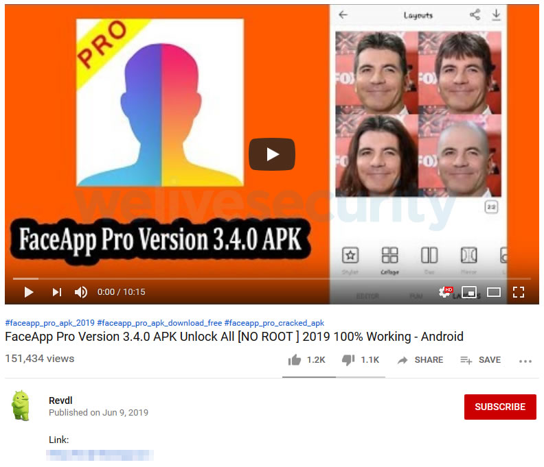 Falso video de YouTube dando link directo a la descarga maliciosa.