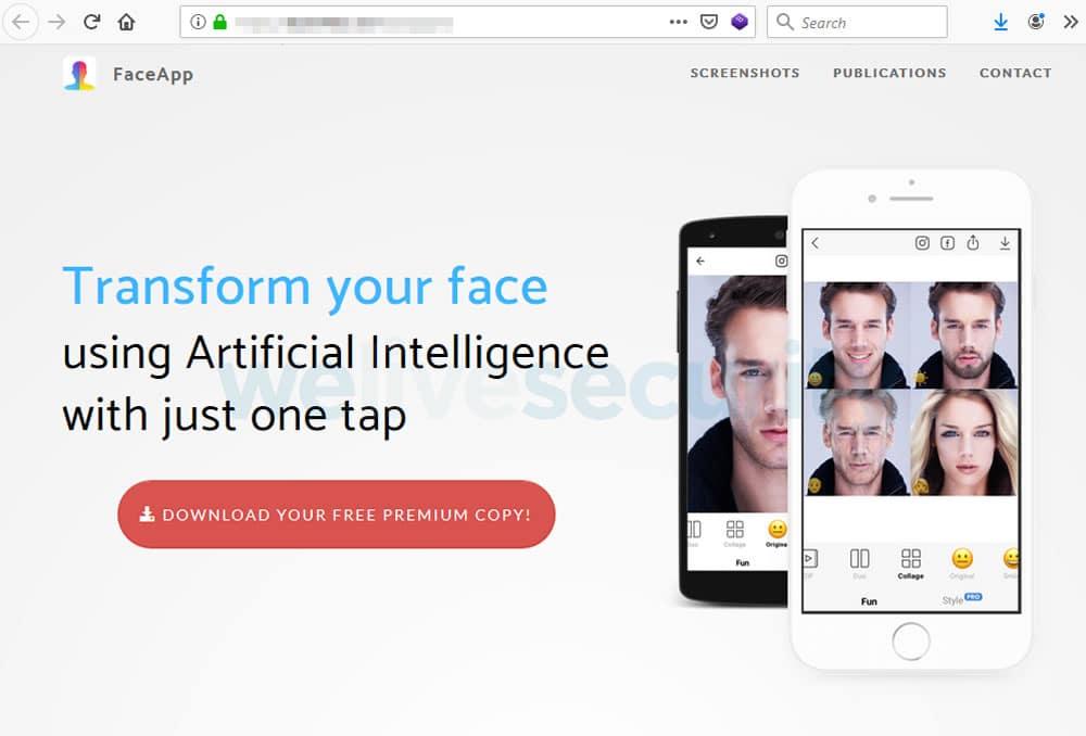 """Falsa Web de """"FaceApp Pro"""" es idéntica a la original."""