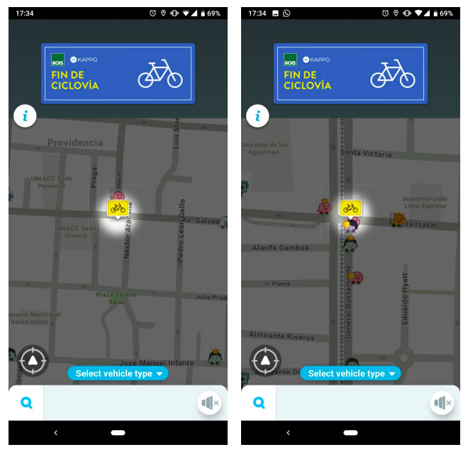 Waze comienza a mostrar información sobre bicicletas y ciclovías.