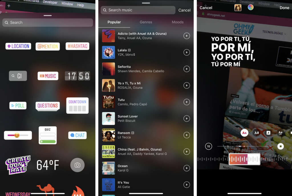 Instagram Music llega a Chile, Perú, Uruguay y otros países, y así lo ocupas.
