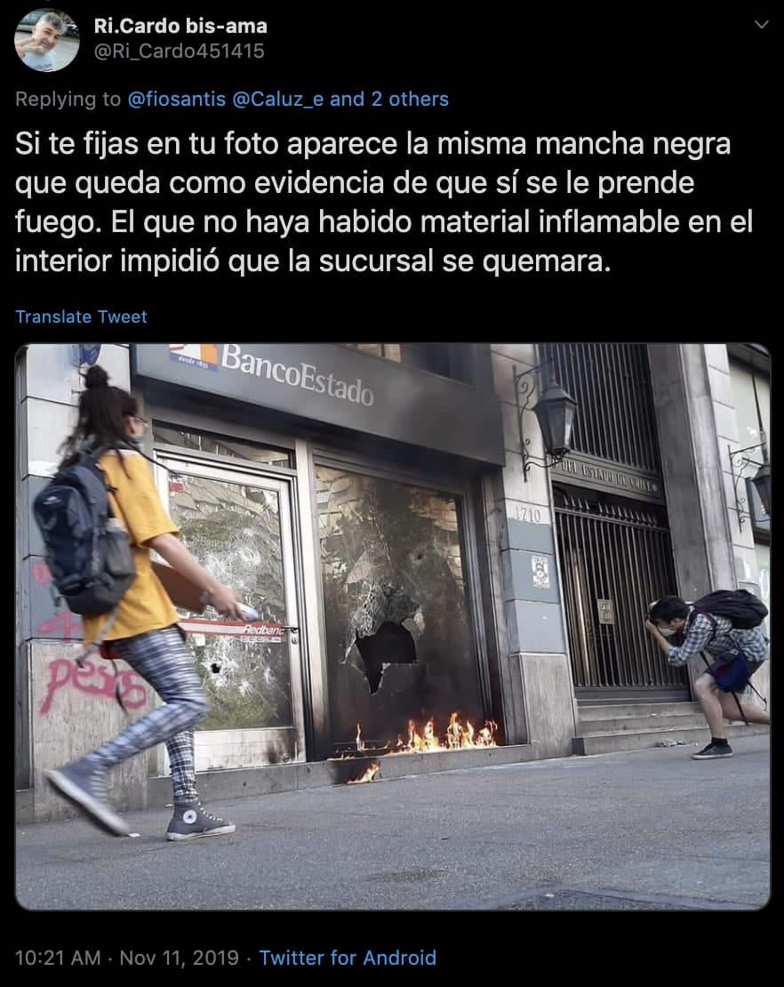 Incendio en Banco Estado Tweet.