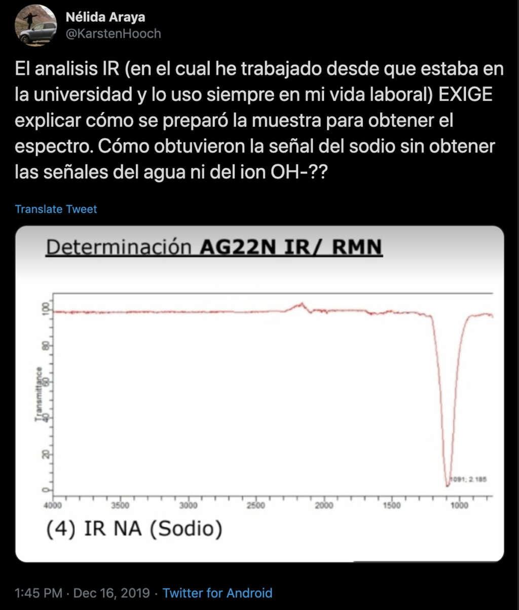 Otra profesional química pone en duda el estudio de la soda cáustica en Carabineros.