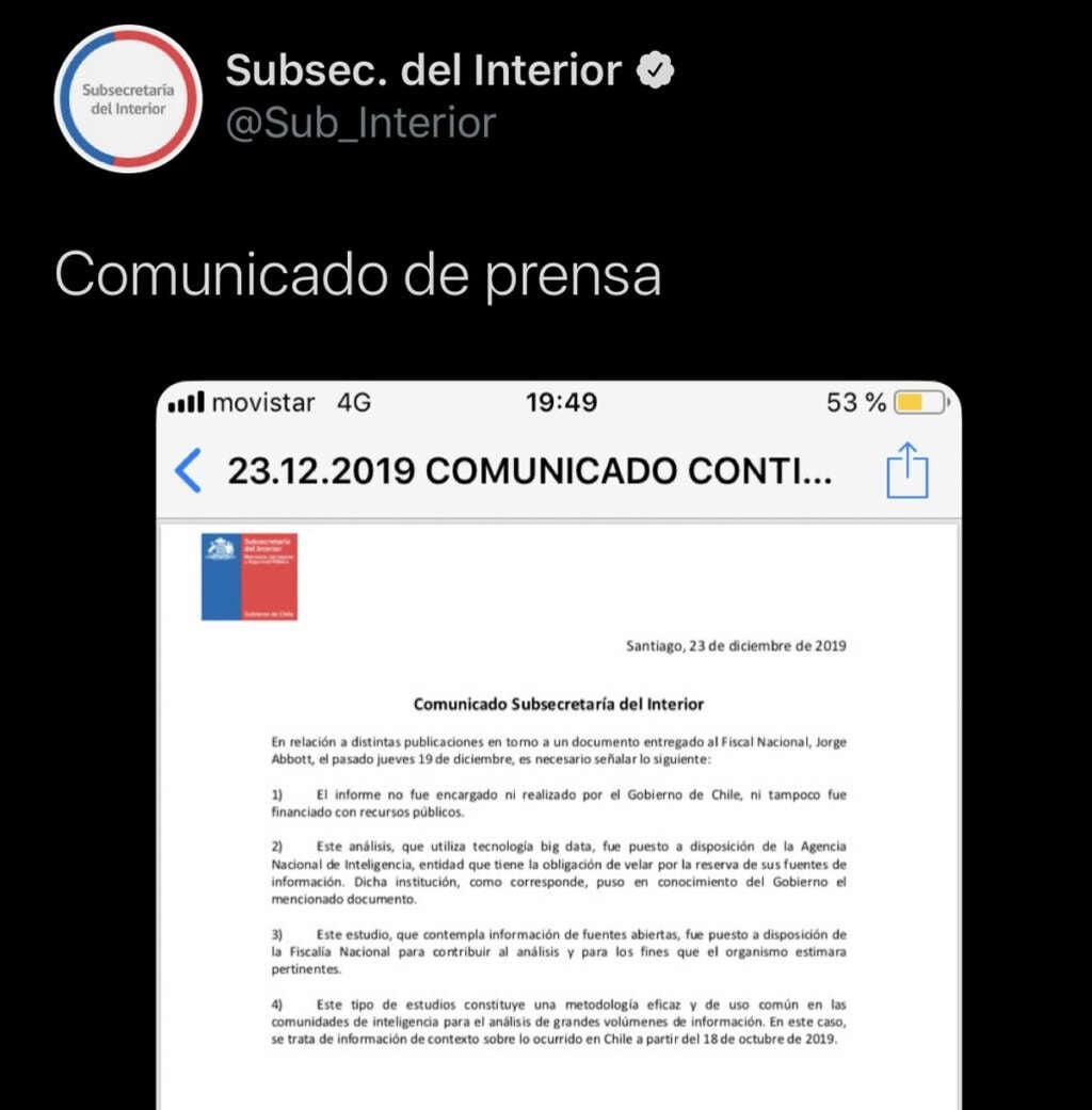 Gobierno de Chile dice que el famoso Informe de Big Data no fue encargado ni pagado por el Estado.