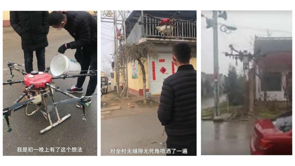 Drones rocían desinfectante en ciudades chinas y advierten ciudadanos por el coronavirus.