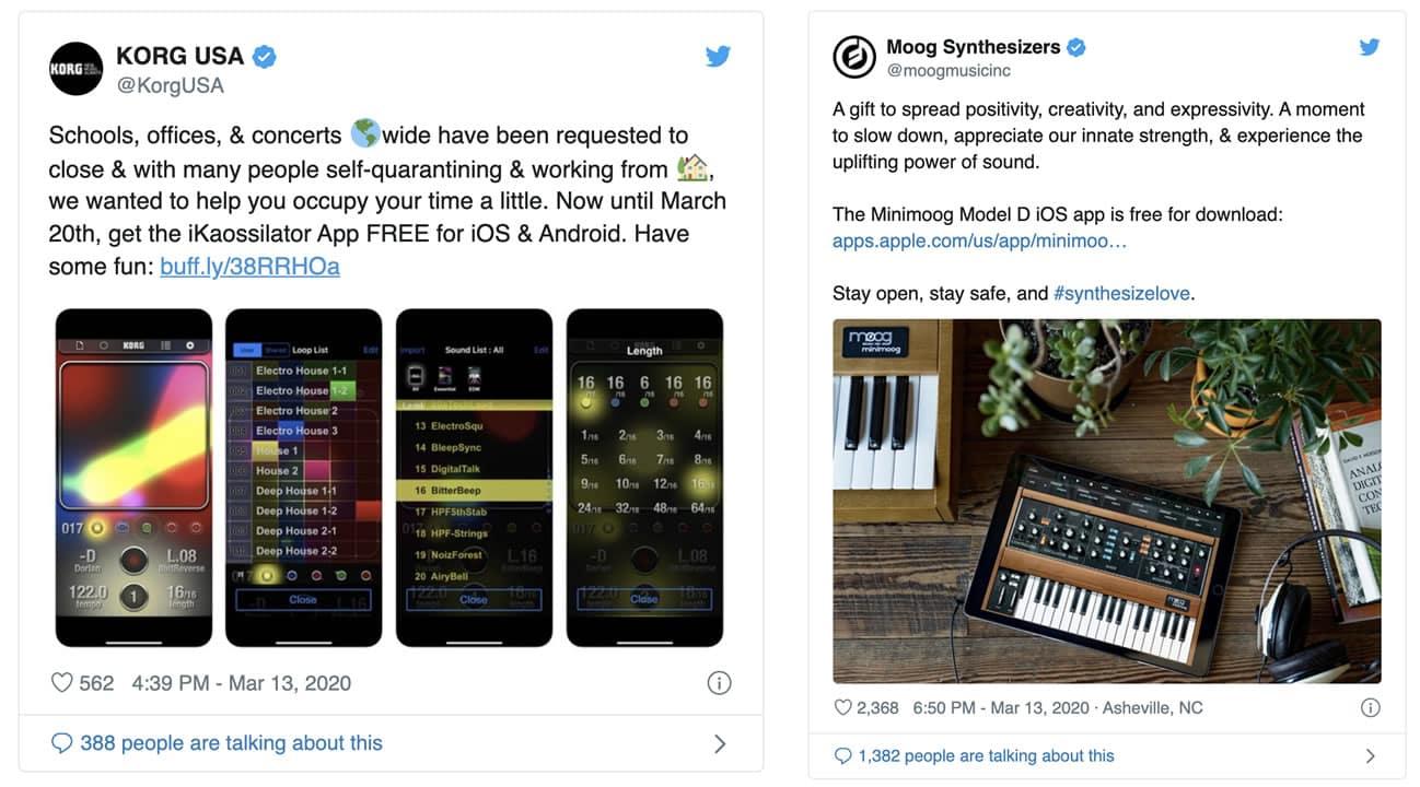 Moog y Korg dejan gratis Apps de sintetizadores por el distanciamiento social.