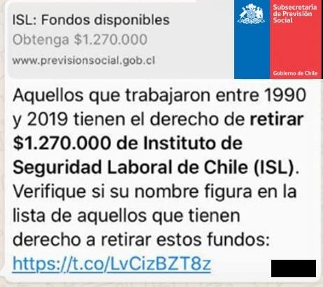 Engaño por WhatsApp promete plata desde el Instituto de Seguridad Laboral de Chile.