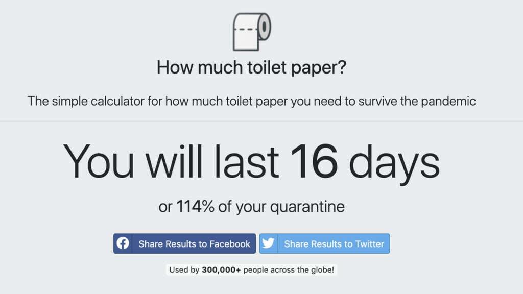 Esta Web te dirá cuánto papel higiénico necesitas para la cuarentena.