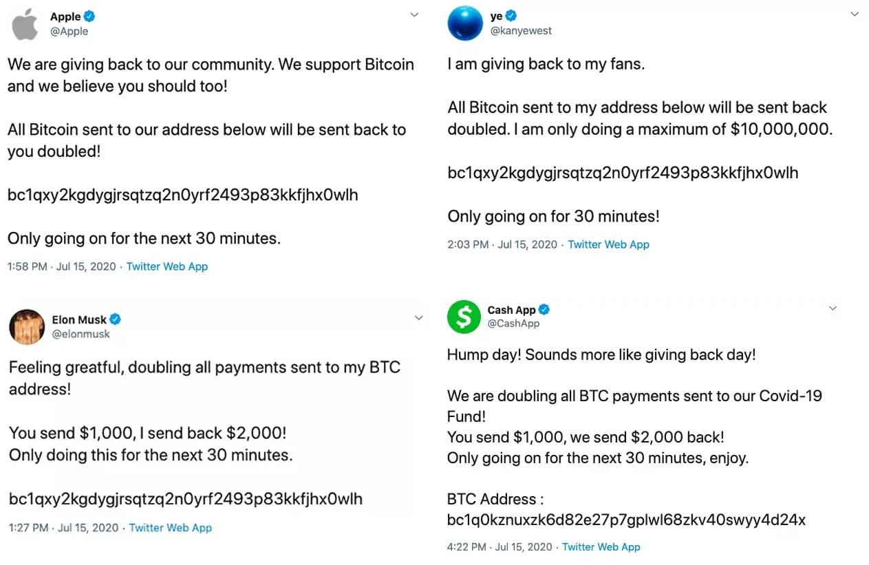 Mensajes difundiendo en Twitter la estafa de Bitcoins.