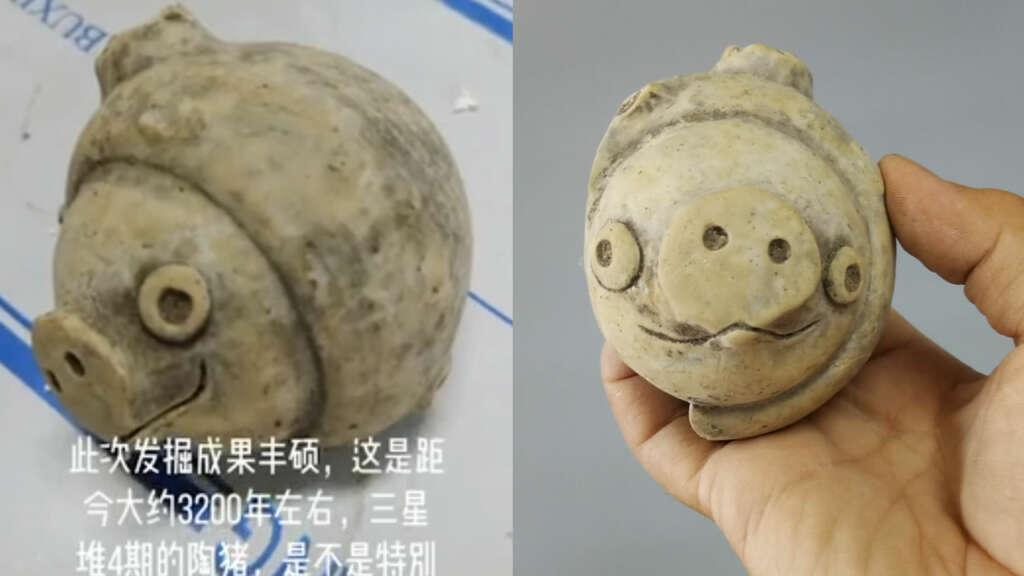 Figura de arcilla de 3.200 años es muy parecida al chancho de Angry Birds.