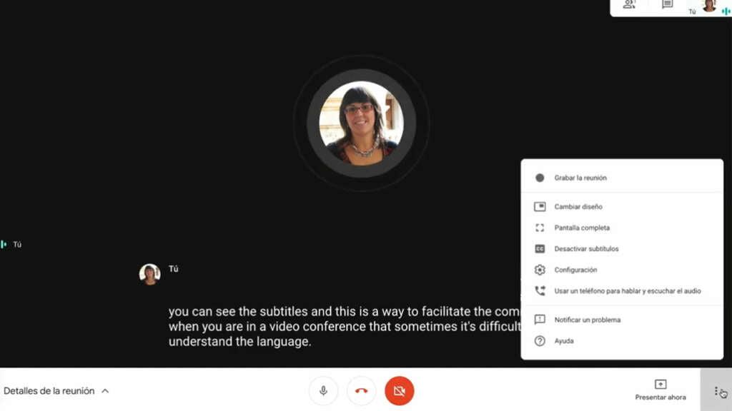 Subtítulos en videollamadas por Google Meet.