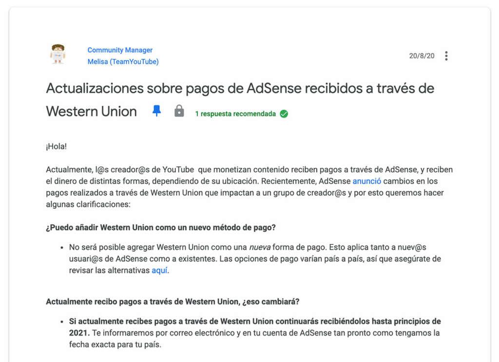 ¿Cuándo Google y YouTube dejarán de pagar la publicidad a través de Western Union?