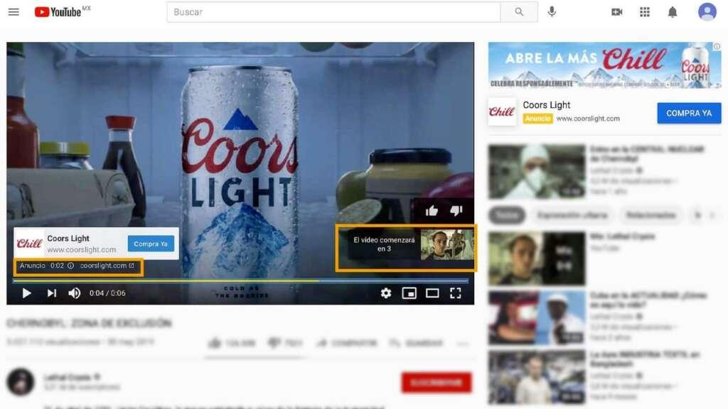 Múltiples publicidades en YouTube.