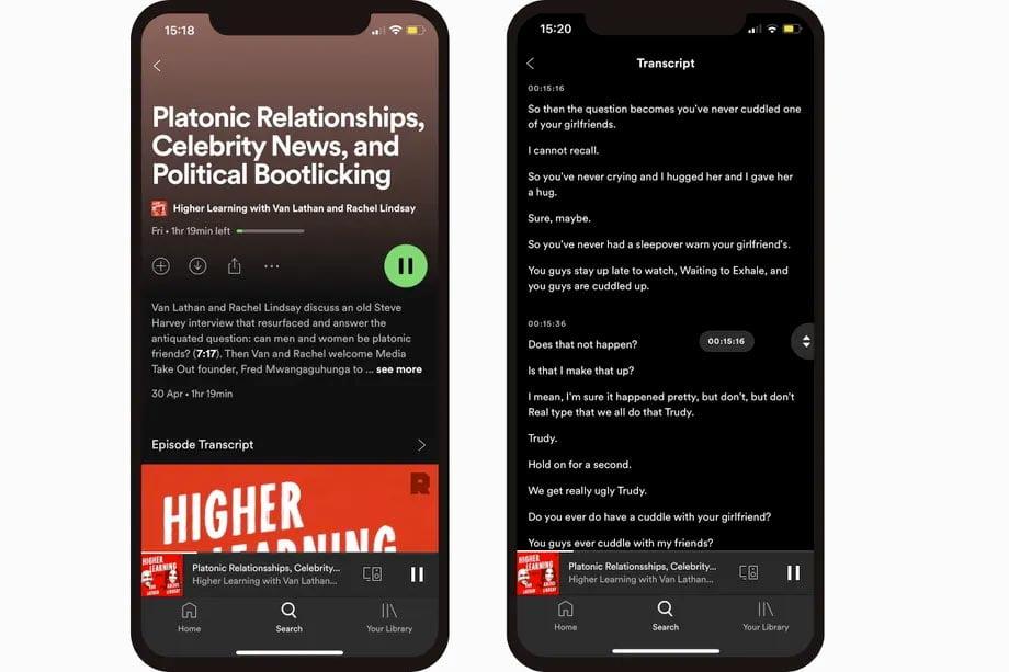 Spotify agrega transcripción en Podcast y otras mejoras de accesibilidad.